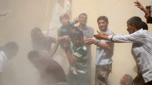 A young Syrian boy who was seriously injured in a rocket attack in the Syrian city of Aleppo last week as the civil war in Syria rages into its sixth year.