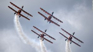 The legendary Breitling Wingwalkers in a recent performance at an airshow in England.