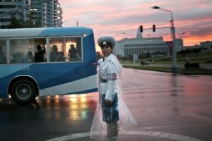 Afternoon drive time in the North Korean capital city of Pyongyang.