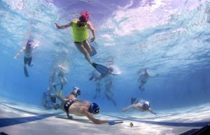 Underwater hockey, or Octopush, is played almost everywhere in the world and teams compete in the World Championships every year which is held in a different place every year. The teams have a small stick and try and maneuver a three pound puck into the opponents goal. The players use a snorkle to get air and to race on top of the water to get to the elusive puck. The sport has been around since 1980.
