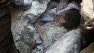 The horror continues in Aleppo as the Syrian civil war continues with no apparent ending in sight. Here, a little boy receives some oxygen after being pulled from some rubble.
