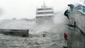 Typhoon Chaba crashed into the Pacific Coast of Asia causing horrific damage everywhere. Here, South Korean sailors were caught at sea and were eventually rescued by a passing ship.